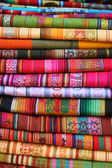 Stacked Table Linens in Otavalo — Stock Photo