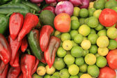 Peppers Limes and Tomatoes — Stock Photo