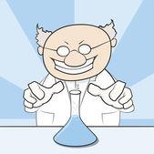 Śmieszne wektorowej szalonego naukowca — Wektor stockowy