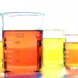 Scientific Beakers in Science Research Lab — Stock Photo