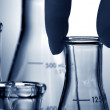 Laboratory Erlenmeyer Flasks in Science Research Lab — Stock Photo