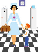 Nurse with Child at Hospital — Stock Vector