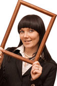 Portrait of businesswoman with frame — Stock Photo