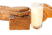 Different bread with milk — Stock Photo