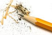 黄色铅笔在白色纸上 — 图库照片