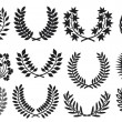 Stock Vector: Wreath set (wreath collection, laurel wreath, oak wreath, wreath of wheat, and olive wreath)