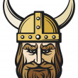 Viking head (viking mascot cartoon with horned helmet, viking with helmet) — Stock Vector