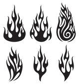 Set of vector flames — Stock Vector