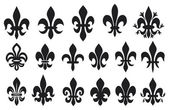 Lily flower - heraldic symbol fleur de lis (royal french lily symbols for design and decorate, lily flowers collection, lily flowers set) — Stok Vektör