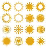 Soles - elementos para el diseño (conjunto de soles vector, soles colección) — Vector de stock