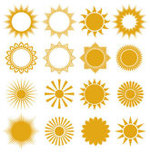 Suns - elements for design (set of vector suns, suns collection) — Stockvektor