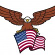 Eagle on american flag - Stock Vector