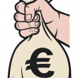 Hand holding money bag with euro sign  — Stock Vector
