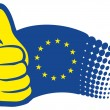 Euro flag with thumbs up — Stock Vector