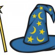 Hat of the wizard (Wizard hat) and magic stick - Stock Vector