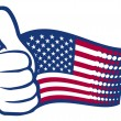 USA flag (United States of America). Hand showing thumbs up. — Stock Vector