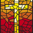 Stained glass cross - Stock Vector