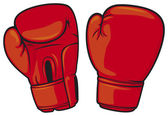Red boxing gloves — Vettoriale Stock