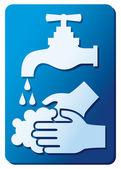 Lavarse las manos suspiro — Vector de stock