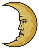 Crescent moon face — Stock Vector