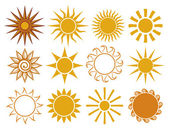 Set of sun vector — Stock Vector