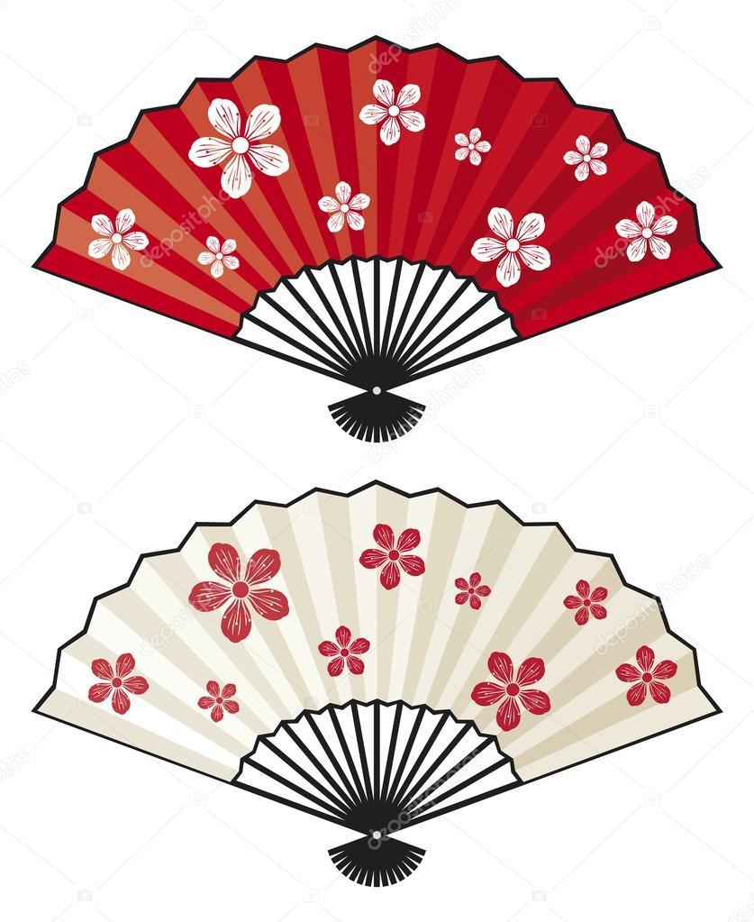Japanese folding fans — Stock Vector © Tribaliumivanka