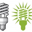Stock Vector: Energy saving light bulb
