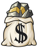Money bag with dollar sign — Vettoriale Stock