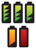 Batteries with different charge levels — Stock Vector