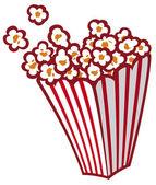 Popcorn in a striped tub — Stock Vector