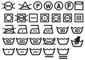 Set of washing symbols — Vecteur