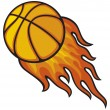 Basketball ball in fire — Stock Vector