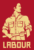 Worker holding a hammer (poster for labor day, male worker with hammer, workers design) — Stockvector