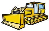 Bulldozer de construction caterpillar jaune — Vecteur