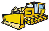 Yellow caterpillar building bulldozer — Stock Vector