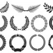 Stock Vector: Wreath set (wreath collection, laurel wreath, oak wreath, wreath of wheat, palm wreath and olive wreath)