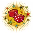 Red dices design (gambling illustration, gambling design, casino design) — Stockvektor