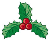 Christmas holly berry symbol (christmas decoration - isolated holly with berries, holly berry icon, symbolic christmas holly berry) — Stock Vector