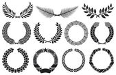 Wreath set (wreath collection, laurel wreath, oak wreath, wreath of wheat, palm wreath and olive wreath) — Vettoriale Stock
