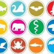 Animals icons buttons — Stock Vector