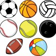 Ball collection - beach ball, tennis ball, american football ball, football ball — Image vectorielle