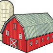 Red barn and silo — Stock Vector