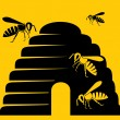 Bees and beehive icon — 图库矢量图片