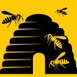 Bees and beehive icon — Stok Vektör