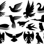 conjunto de siluetas de aves — Vector de stock  #26761645