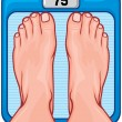 Feet on the scale — Stock Vector