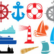 Nautical and marine icons — Stock Vector #26763059
