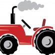 Stock Vector: Red tractor