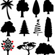 Collection of trees silhouettes  — Imagen vectorial