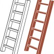 Illustration of a wooden ladder — Stock Vector